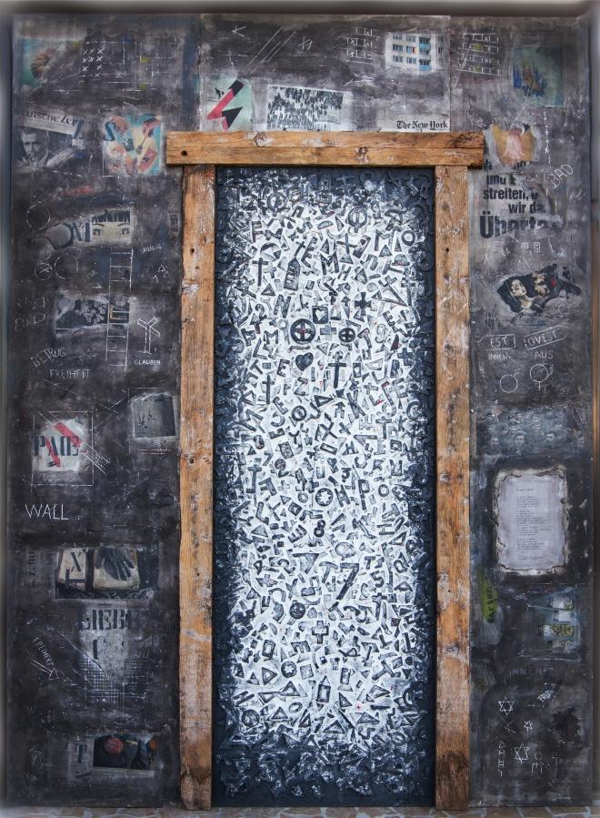 Domenico Scolaro.          Titolo.  Prima o poi ogni muro cade. misure 185 x 252  anno 2014